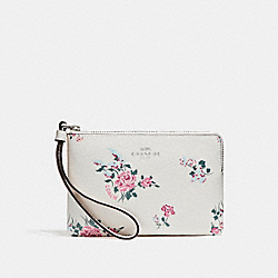COACH F26217 Corner Zip With Cross Stitch Floral Print SILVER/CHALK MULTI