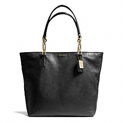 COACH F26225 Madison Leather North/south Tote LIGHT GOLD/BLACK