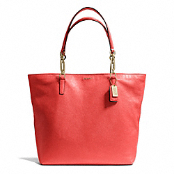 COACH F26225 - MADISON LEATHER NORTH/SOUTH TOTE LIGHT GOLD/LOVE RED