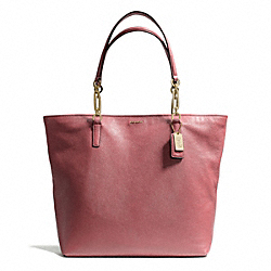 COACH F26225 Madison Leather North/south Tote LIGHT GOLD/ROUGE