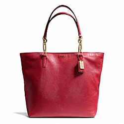 COACH F26225 - MADISON LEATHER NORTH/SOUTH TOTE LIGHT GOLD/SCARLET