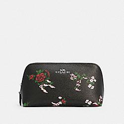 COACH F26226 Cosmetic Case 17 With Cross Stitch Floral Print SV/BLACK MULTI