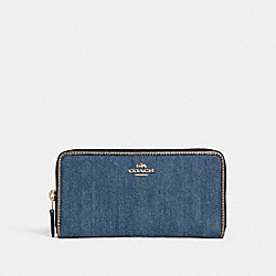 ACCORDION ZIP WALLET - f26232 - DENIM MULTI/LIGHT GOLD