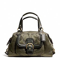 COACH F26247 - CAMPBELL SIGNATURE METALLIC SATCHEL BRASS/MOSS