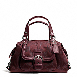 COACH F26247 - CAMPBELL SIGNATURE METALLIC SATCHEL SILVER/BORDEAUX