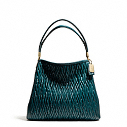COACH F26258 - MADISON SMALL PHOEBE SHOULDER BAG IN GATHERED TWIST LEATHER  LIGHT GOLD/DK TEAL