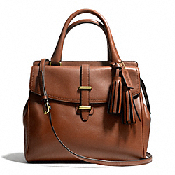COACH F26261 - LEATHER NORTH/SOUTH SATCHEL BRASS/COGNAC