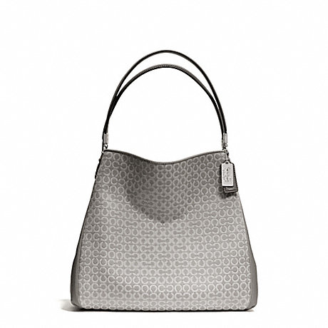 COACH F26282 MADISON NEEDLEPOINT OP ART SMALL PHOEBE SHOULDER BAG SILVER/LIGHT-GREY