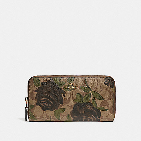 COACH f26290 ACCORDION ZIP WALLET WITH CAMO ROSE FLORAL PRINT LIGHT  GOLD KHAKI 518985b9ac