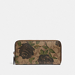COACH F26290 Accordion Zip Wallet With Camo Rose Floral Print LIGHT GOLD/KHAKI