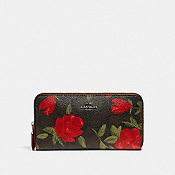 COACH F26290 Accordion Zip Wallet With Camo Rose Floral Print BLACK ANTIQUE NICKEL/BROWN RED MULTI