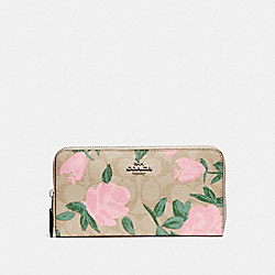 ACCORDION ZIP WALLET WITH CAMO ROSE FLORAL PRINT - f26290 - SILVER/LIGHT KHAKI BLUSH MULTI