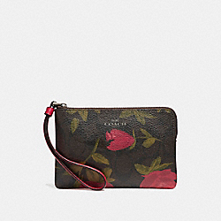 CORNER ZIP WRISTLET WITH CAMO ROSE FLORAL PRINT - f26291 - BLACK ANTIQUE NICKEL/BROWN RED MULTI
