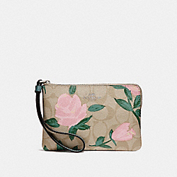 COACH F26291 Corner Zip Wristlet With Camo Rose Floral Print SILVER/LIGHT KHAKI BLUSH MULTI