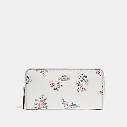 COACH F26294 Accordion Zip Wallet With Cross Stitch Floral Print SILVER/CHALK MULTI