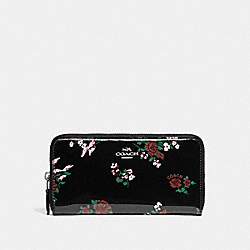 COACH F26294 Accordion Zip Wallet With Cross Stitch Floral Print SILVER/BLACK MULTI