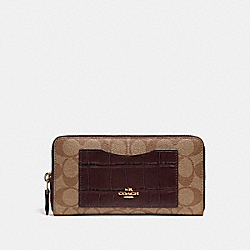 COACH F26300 Accordion Zip Wallet LIGHT GOLD/KHAKI