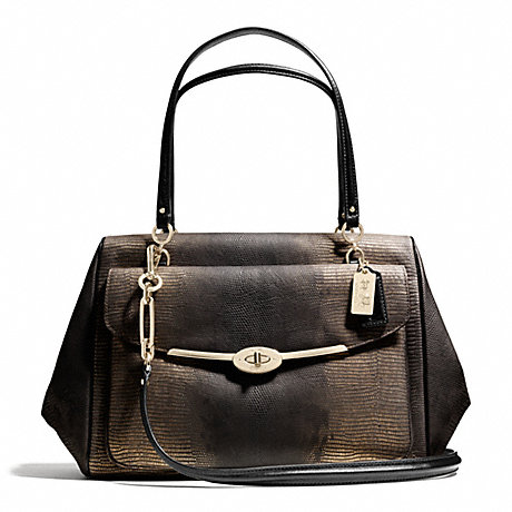 COACH f26333 MADISON LARGE MADELINE EAST/WEST SATCHEL IN METALLIC SPOTTED LIZARD LEATHER