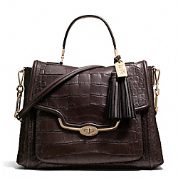 COACH F26335 Madison Croc Embossed Large Sadie Flap Satchel LIGHT GOLD/ESPRESSO