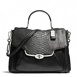 COACH F26338 Madison Glitter Python Sadie Flap Satchel SILVER/BLACK