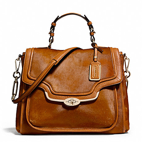 COACH F26346 MADISON MIXED HAIRCALF SADIE FLAP SATCHEL LIGHT-GOLD/ORANGE-SPICE