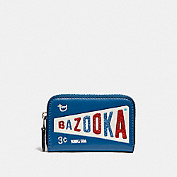 ZIP AROUND COIN CASE WITH BAZOOKA™ MOTIF - f26391 - SILVER/INK