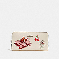 COACH F26394 Accordion Zip Wallet With American Dreaming Patches CHALK MULTI/SILVER