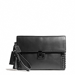 ONYX STUDDED LEATHER LOCK CLUTCH - f26410 - 32058