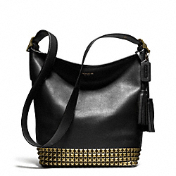 STUDDED LEATHER DUFFLE - f26413 -  ANTIQUE BRASS/BLACK