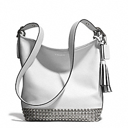 STUDDED LEATHER DUFFLE - f26413 -  ANTIQUE NICKEL/WHITE