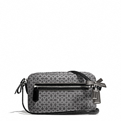 COACH F26424 - POPPY SIGNATURE C METALLIC OUTLINE FLIGHT BAG SILVER/CHARCOAL/CHARCOAL
