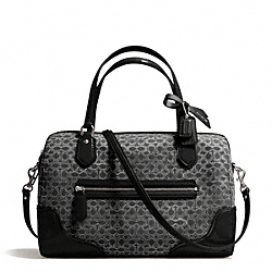 COACH F26426 Poppy East/west Satchel In Signature Metallic Outline Fabric SILVER/BLACK/BLACK