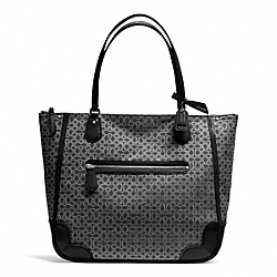 COACH F26427 Poppy Signature C Metallic Outline Tote SILVER/BLACK/BLACK
