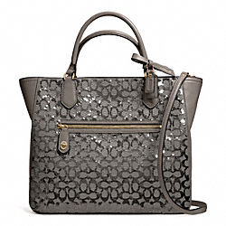 COACH F26432 Poppy Sequin Signature C Small Blaire Tote