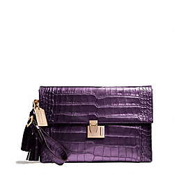 COACH F26446 Liquid Metallic Croc Lock Clutch RE/BLACK VIOLET