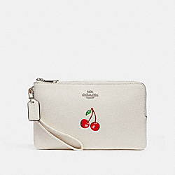 COACH F26450 - DOUBLE ZIP WALLET WITH CHERRY SILVER/CHALK MULTI