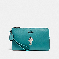 COACH F26451 Double Zip Wallet With Ice Cream Sundae Motif BLACK ANTIQUE NICKEL/BLUE GREEN