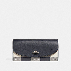COACH F26453 Slim Envelope Wallet With Buffalo Plaid Print MIDNIGHT MULTI/LIGHT GOLD