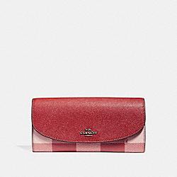 COACH F26453 Slim Envelope Wallet With Buffalo Plaid Print BLUSH MULTI/BLACK ANTIQUE NICKEL
