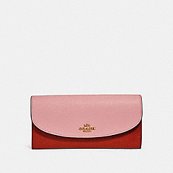 SLIM ENVELOPE WALLET IN COLORBLOCK - f26457 - BLUSH/TERRACOTTA/LIGHT GOLD