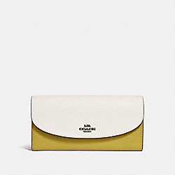 SLIM ENVELOPE WALLET IN COLORBLOCK - f26457 - CHALK/CHARTREUSE/BLACK ANTIQUE NICKEL