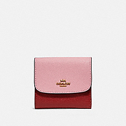 SMALL WALLET IN COLORBLOCK - f26458 - BLUSH/TERRACOTTA/LIGHT GOLD