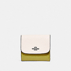 SMALL WALLET IN COLORBLOCK - f26458 - CHALK/CHARTREUSE/BLACK ANTIQUE NICKEL
