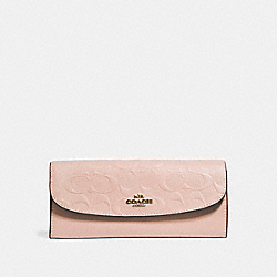 SOFT WALLET IN SIGNATURE LEATHER - f26460 - NUDE PINK/LIGHT GOLD