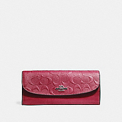 SOFT WALLET IN SIGNATURE LEATHER - F26460 - HOT PINK/SILVER