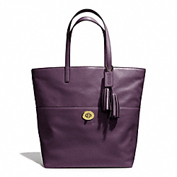 COACH F26461 - LEATHER TURNLOCK TOTE BRASS/BLACK VIOLET