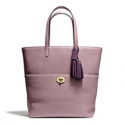 PEBBLED LEATHER TURNLOCK TOTE - f26477 - 27215