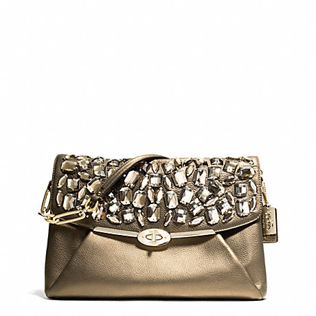 COACH f26483 MADISON JEWELED LEATHER SHOULDER FLAP LIGHT GOLD/BRONZE