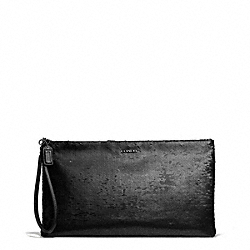 COACH MADISON SEQUINS ZIP CLUTCH - ANTIQUE NICKEL/BLACK - F26484