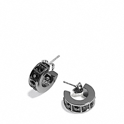 COACH F26503 Beveled Pave Huggie Earrings BLACK